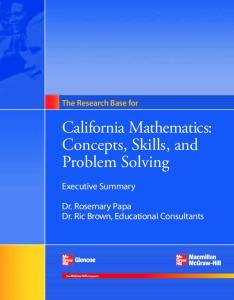 California Mathematics: Concepts, Skills, and Problem Solving
