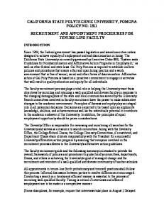 CALIFORNIA STATE POLYTECHNIC UNIVERSITY, POMONA POLICY NO: 1311 RECRUITMENT AND APPOINTMENT PROCEDURES FOR TENURE-LINE FACULTY