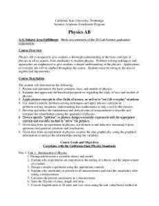 California State University, Northridge Summer Academic Enrichment Program. Physics AB