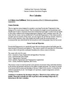 California State University, Northridge Summer Academic Enrichment Program. Pre Calculus