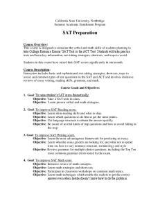 California State University, Northridge Summer Academic Enrichment Program. SAT Preparation