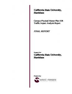 California State University, Stanislaus FINAL REPORT. Campus Physical Master Plan EIR Traffic Impact Analysis Report
