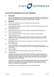 Call Australia Advantage Service Level Agreement