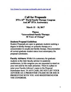 Call for Proposals IFTA 25 th World Family Therapy Congress And 30 th IFTA Anniversary