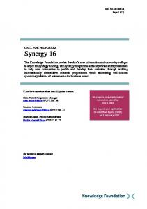 CALL FOR PROPOSALS Synergy 16