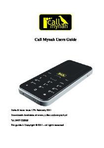 Call Mynah Users Guide
