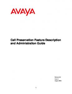Call Preservation Feature Description and Administration Guide