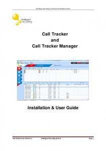 Call Tracker and Call Tracker Manager