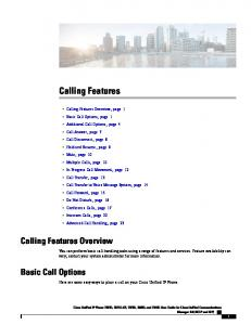 Calling Features. Calling Features Overview. Basic Call Options