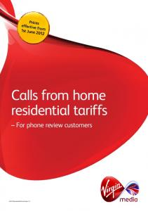 Calls from home residential tariffs