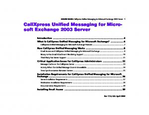 CallXpress Unified Messaging for Microsoft Exchange 2003 Server