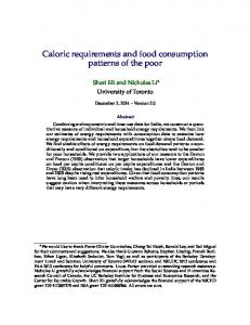 Caloric requirements and food consumption patterns of the poor