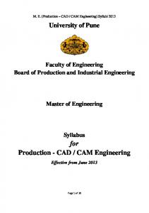 CAM Engineering] Syllabi University of Pune. Faculty of Engineering Board of Production and Industrial Engineering