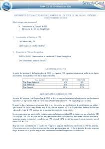 CAMBIO DEL TIPO DE IVA PARA EL 1 DE SEPTIEMBRE de 2012