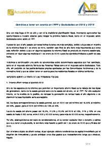 Cambios a tener en cuenta en IRPF y Sociedades en 2015 y 2016