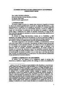 CAMBIOS CONTRACTUALES LABORALES EN LAS EMPRESAS AGROALIMENTARIAS