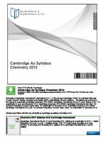 Cambridge As Syllabus Chemistry 2015