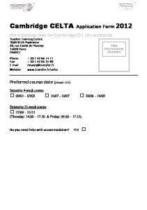 Cambridge CELTA Application Form 2012
