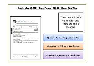 Cambridge IGCSE Core Paper (2016) Exam Top Tips