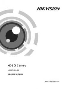Camera. HD-SDI Camera. User Manual UD.6L0201D1078A01