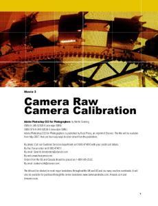 Camera Raw Camera Calibration