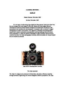 CAMERA REVIEW: ALPA 12. Shutter Release, November Revised November 2007