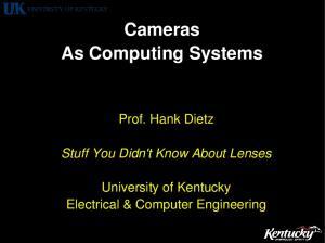 Cameras As Computing Systems