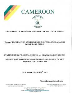 CAMEROON. 57th SESSION OF THE COMMISSION ON THE STATUS OF WOMEN. Theme: