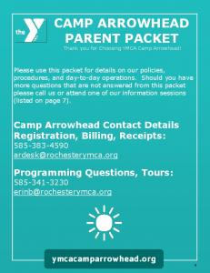 CAMP ARROWHEAD PARENT PACKET