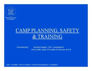 CAMP PLANNING, SAFETY & TRAINING