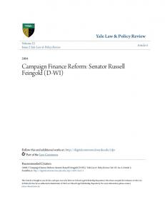 Campaign Finance Reform: Senator Russell Feingold (D-WI)