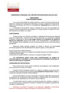 CAMPEONATO REGIONAL DEL DEPORTE EN EDAD ESCOLAR TAEKWONDO FASE INTERPROVINCIAL