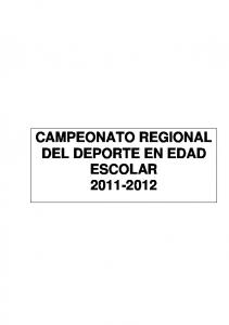 CAMPEONATO REGIONAL DEL DEPORTE EN EDAD ESCOLAR