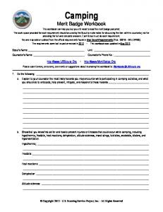 Camping Merit Badge Workbook
