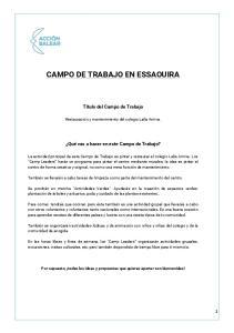 CAMPO DE TRABAJO EN ESSAOUIRA