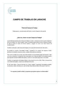CAMPO DE TRABAJO EN LARACHE