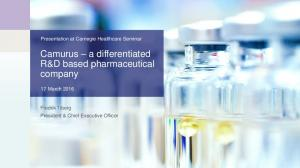 Camurus a differentiated R&D based pharmaceutical company