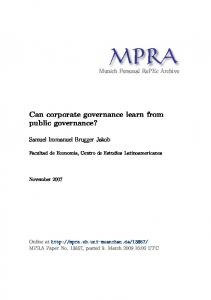 Can corporate governance learn from public governance?