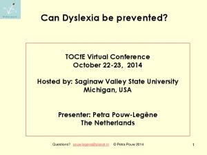 Can Dyslexia be prevented?