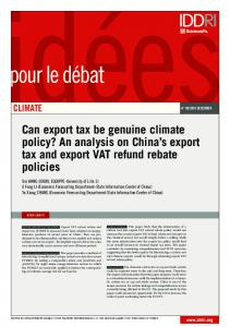 Can export tax be genuine climate policy? An analysis on China s export tax and export VAT refund rebate policies