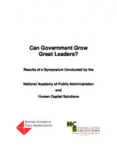 Can Government Grow Great Leaders?