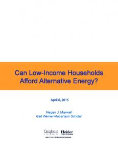 Can Low-Income Households Afford Alternative Energy?