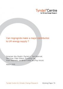 Can migrogrids make a major contribution to UK energy supply?