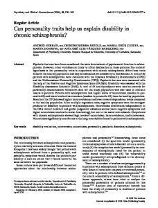 Can personality traits help us explain disability in chronic schizophrenia?