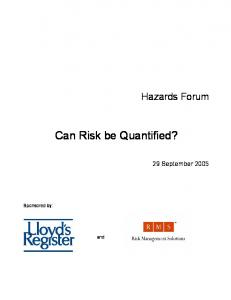 Can Risk be Quantified?