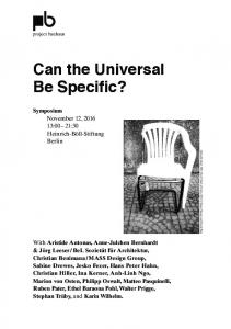 Can the Universal Be Specific?
