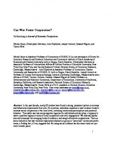 Can War Foster Cooperation?