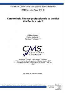 Can we help finance professionals to predict the Euribor rate?