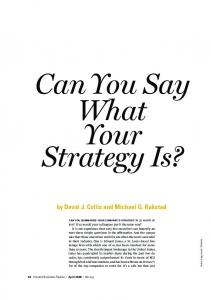 Can You Say What Your Strategy Is?