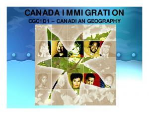 CANADA IMMIGRATION CGC1D1 CANADIAN GEOGRAPHY